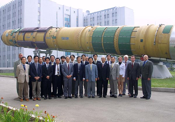 Kick-off Meeting at Yuzhnoye to Launch JAXA OICETS / INDEX Satellites, Special thanks to JAXA, 2004-09 (C) Yuzhnoye